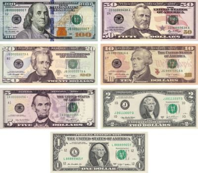 新紙幣 ドル紙幣 比較